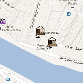 Situación de la Galería de los Uffizi