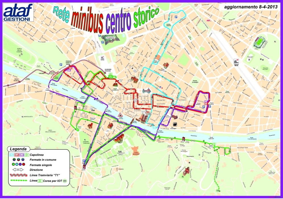 Mapa de minibuses por el centro histórico de Florencia