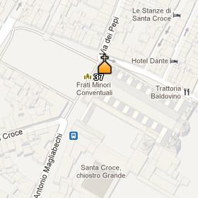 Situación de la Iglesia de la Santa Cruz en el Mapa de Florenciaq
